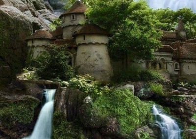 Art Refernce - Castle with a waterfall.